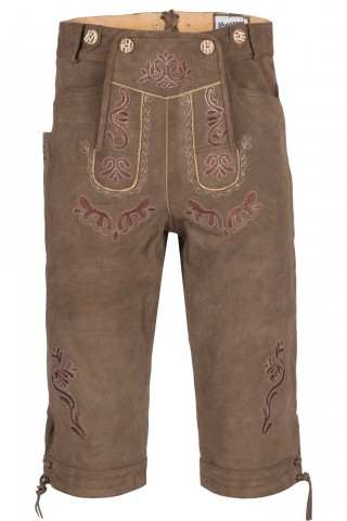 Herren Trachten-Kniebundhose aus feinem Rindsvelourleder, Tabak Braun