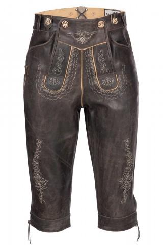 Wertige Herren Trachten Lederhose Kniebundhose Traditionell in rustikalem Antik-Braun