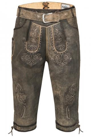 Wertige Herren Trachten Lederhose Kniebundhose Traditionell in rustikalem Antik-Grau