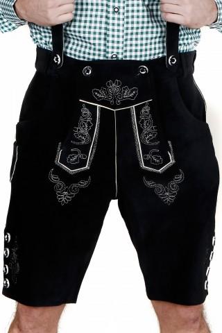 Herren Trachten-Lederhose kurz aus feinem Rindsvelourleder, Schwarz