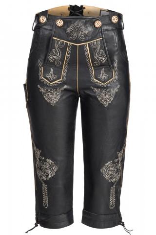 Damen Trachten Kniebund Lederhose aus feinem Nappa mit Stickereien, Schwarz