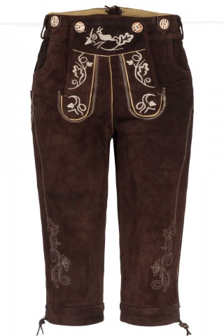 Edle Damen Kniebund Trachtenhose mit schönen traditionellen Stickereien 100% Velourleder, Braun