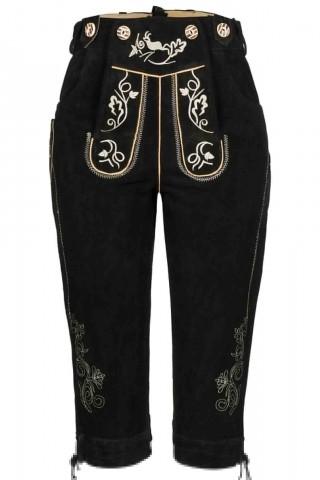 Edle Damen Kniebund Trachtenhose mit schönen traditionellen Stickereien 100% Velourleder, Schwarz