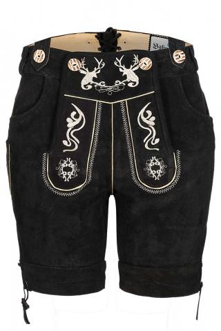 Attraktive Kurze Damenlederhose aus schönem Velourleder mit traditionellen Flora-Fauna-Stickereien, Schwarz