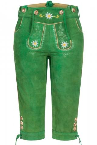Damen Lederhose Wiesengrün Kniebund aus feinem Rindsvelour Leder