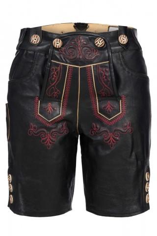 Edle Damenlederhose kurz mit aufwendiger roter Stickerei Traditionell Trachten , Schwarz