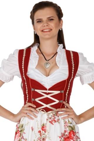 3tlg. Dirndl Midi 60cm rot mit Schürze und Bluse