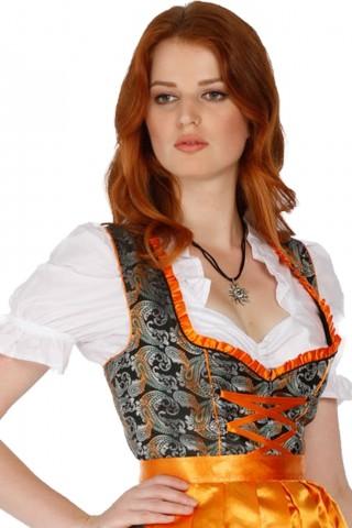 Schwarzes, 3tlg. Midi Dirndl mit oranger Schürze