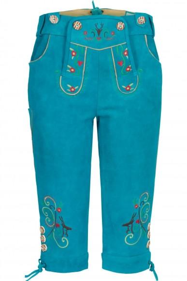 Damen Lederhose Himmelblau Kniebund aus feinem Rindsvelour Leder
