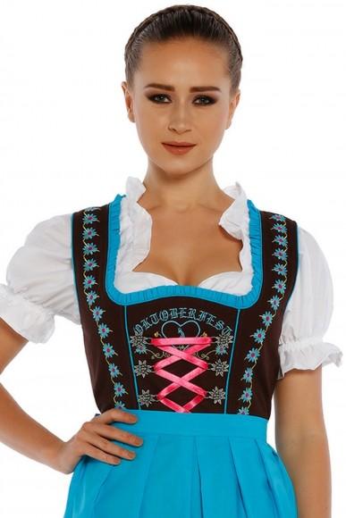 3tlg. Dirndl Schwarz Hellblau mit Bluse und Schuerze