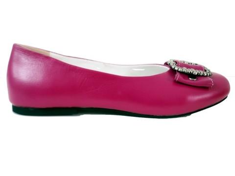 Damen Trachtenschuhe Ballerinas aus Echt Nappa Leder, Pink