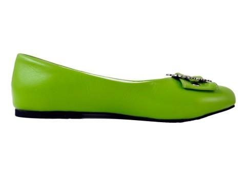 Damen Trachtenschuhe Ballerinas aus Echt Nappa Leder, Grün