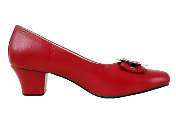 Damen Trachtenschuhe Pumps aus Echt Nappa Leder, Rot
