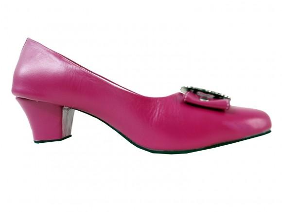 Damen Trachtenschuhe Pumps aus Echt Nappa Leder, Pink