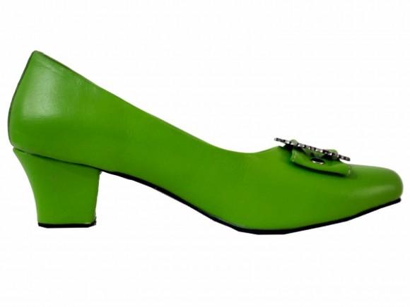 Damen Trachtenschuhe Pumps aus Echt Nappa Leder, Grün