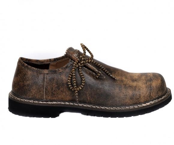 Herren Trachtenschuhe Haferlschuh aus Echt Rinds Leder, Antik Braun