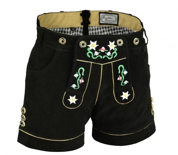 Damen Trachten Lederhose kurz aus feinem Rindsvelourleder mit Blumenstick und Herztasche, Schwarz
