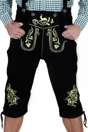 Herren Trachten-Kniebundhose aus feinem Rindsvelourleder, Schwarz