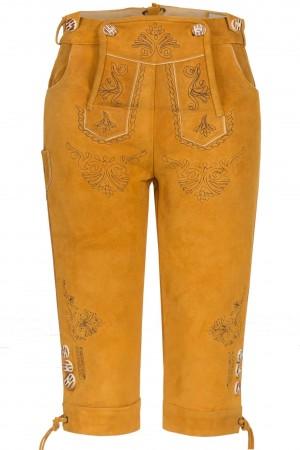 Damen Lederhose Goldgelb Kniebund aus feinem Rindsvelour Leder
