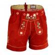 Damen Trachten Lederhose kurz aus feinem Rindsvelourleder mit Blumenstick und Herztasche, Rot